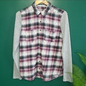 Maurice Plaid Flannel Sweater Sleeves Button Down